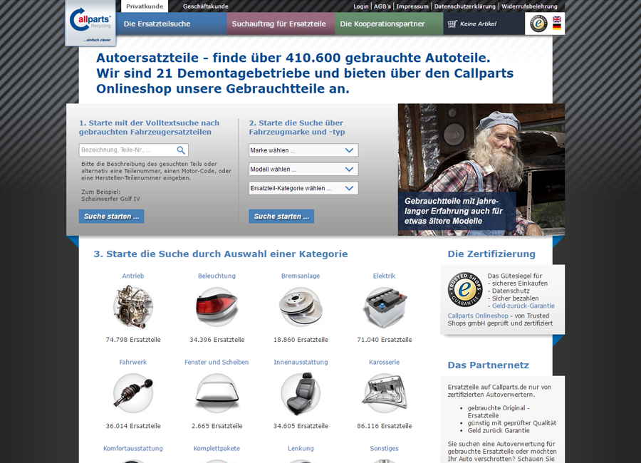 Screenshot der Startseite der Callparts Recycling GmbH